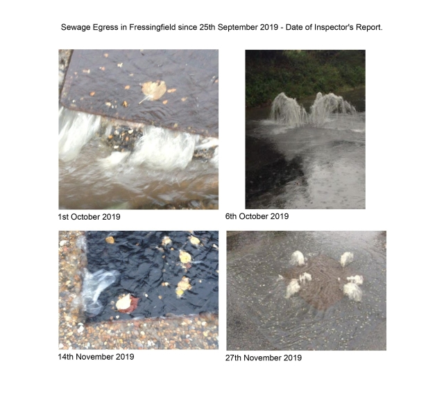 Sewage Egress in Fressingfield since 25th September 2019 - Date of Inspector's Report