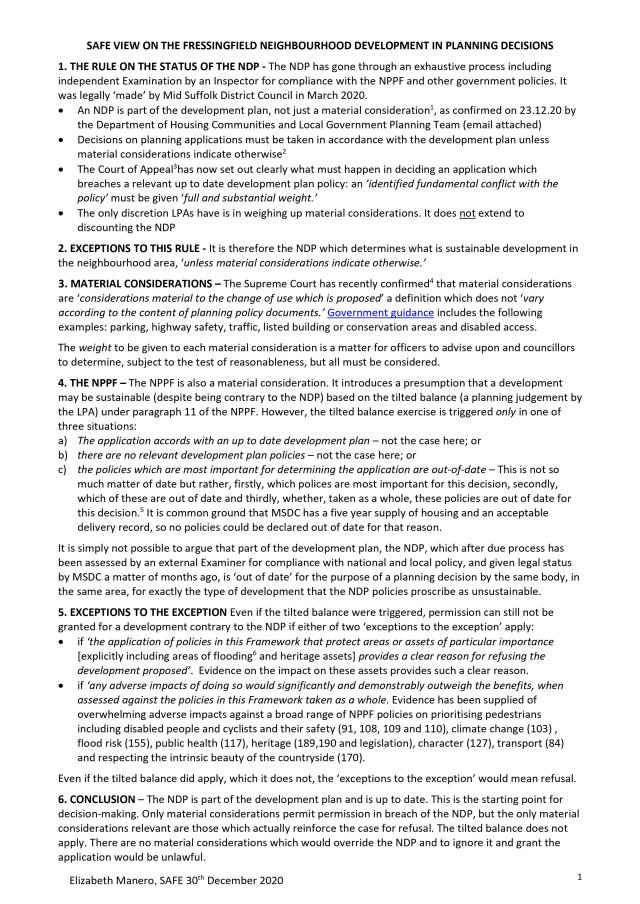 SAFE View on the Status of Fressingfield NDP 30.12.20 Page 1 (1)
